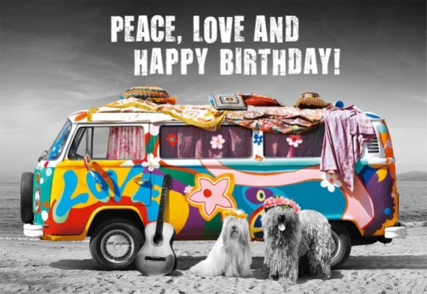 Geburtstagskarte - Peace, Love and Happy Birthday